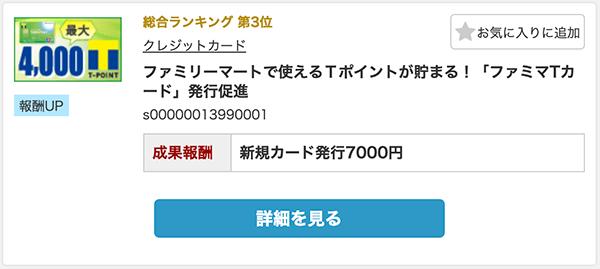 ファミマTカードを発行すれば7000円の報酬