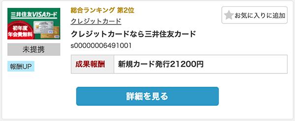 三井住友カードを発行すれば21200円の報酬