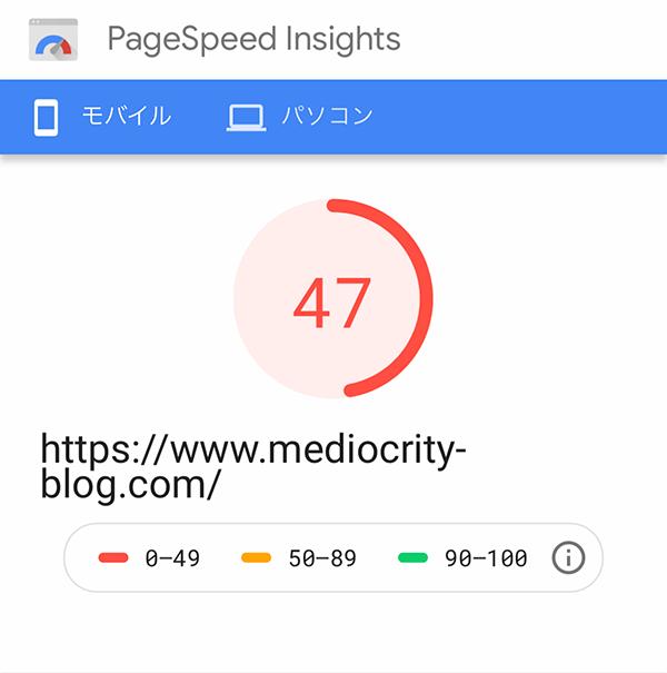 PageSpeed insightsスコア(スマホ)