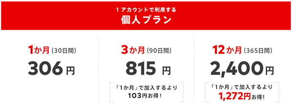 料金は1アカウント1ヶ月200円(12ヶ月プラン)