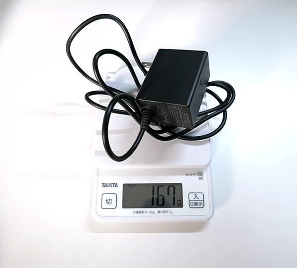 純正ACアダプターの重さ計測結果