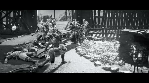 黒澤明監督の映画を彷彿とさせる白黒画面