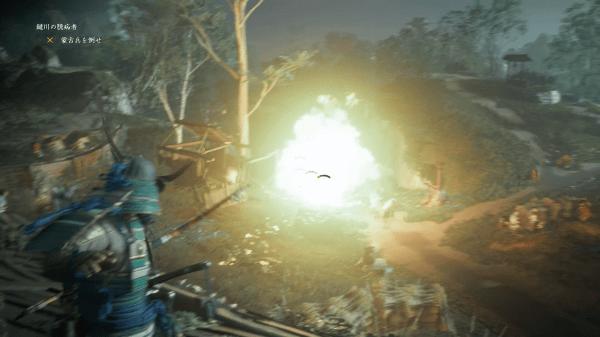 火薬樽が爆発し敵に甚大なダメージを与える