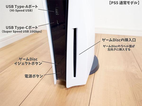 PS5前面のインターフェース