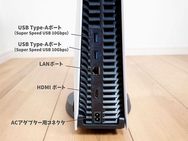 PS5背面のインターフェース