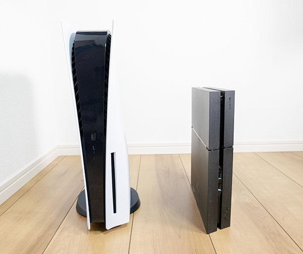 PS5とPS4のサイズ比較(前面)