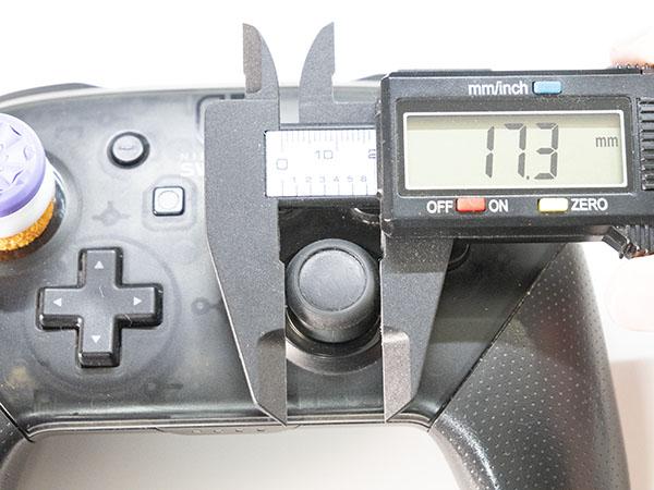 プロコンのスティック大きさは約17.3ミリ